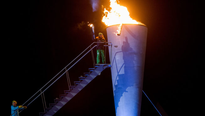 Her Royal Highness Princess Ingrid Alexandra of Norway lights the cauldron during the opening ceremony at Lysgårdsbakkene Ski Jumping Arena of theduring the Winter Youth Olympic Games, Lillehammer Norway, 12 February 2016 Photo: Al Tielemans for YIS/IOC  Handout image supplied by YIS/IOC
