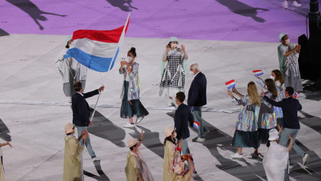TOKYO, JAPAN - JULY 23, 2021; Flag bearers Christine MAJERUS and Raphael  STACCIOTTI  from LUXEMBOURG  during the Opening Ceremony of the Tokyo 2020 Olympic Games at Olympic Stadium on July 23, 2021 in Tokyo, Japan. Picture is for press use; photo by ATP Hiro YAKUSHI