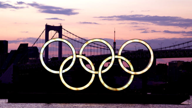 TOKYO, JAPAN - JULY 22, 2021; OLYMPIC RINGS and the baybridge in TOKYO during the Tokyo 2020 Olympic Games on July 22, 2021 in Tokyo, Japan. picture is for press use; photo by ATP Jun QIAN