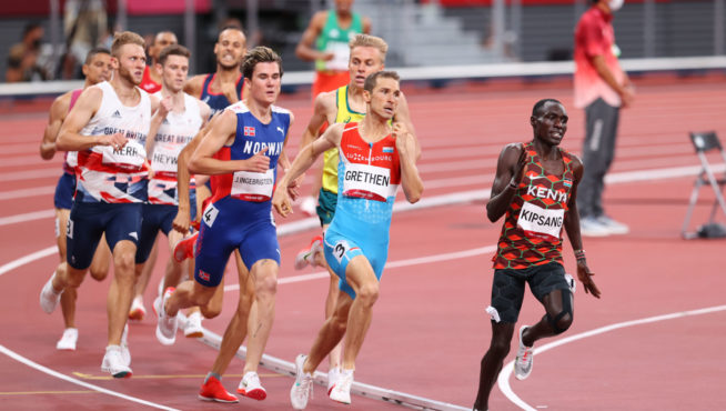 GRETHEN Charles (LUX), 1500 METER run heat 2 on 05.08.2021 -  AUGUST 5, 2021 - Athletics : Men's 1500m Semifinal during the Tokyo 2020 Olympic Games at the National Stadium in Tokyo, Japan. (Photo by ATP Naoki MORITA / AFLO)